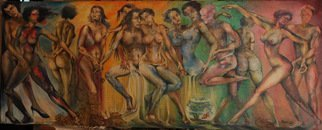 John Biro; Party, 2010, Original Painting Oil, 213 x 88 cm. Artwork description: 241 oil on canvas...