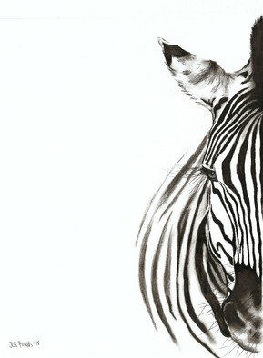 Jessica Fowlds; Zebra, 2018, Original Drawing Charcoal, 12 x 16.5 inches. Artwork description: 241 Modern print of a Zebra charcoal drawing ...