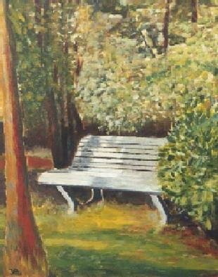 Jean Pierre Vets; Banc Non Public, 1994, Original Painting Oil, 34 x 27 cm. Artwork description: 241 A quiet garden somewhere in Belgium...