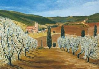 Jean Pierre Vets; San Antimo, 1998, Original Painting Oil, 70 x 50 cm. Artwork description: 241 San Antimo is a romanesque abbey build from the 10th century in a quiet vineyards and olives valley in Tuscany ( Italy)...