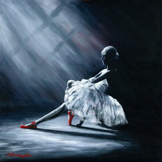 Joseph Mclaughlin; Ballerina With Red Shoes, 2014, Original Painting Acrylic, 20 x 20 inches. Artwork description: 241  I love monotone images and addng atouch of red brings te art to life. ...