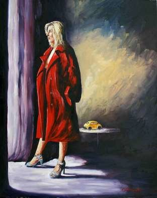 Joseph Mclaughlin; Room With A View, 2008, Original Painting Oil, 24 x 30 inches. Artwork description: 241  Wearing nothing but a red coat so just who is it thta has the best view. ...