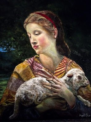 Joseph Porus; Lost Lamb, 2016, Original Painting Oil, 17 x 22 inches. Artwork description: 241                                     Oil on linen  inspired from Bourgereau original.  This one a close up variation                                                             ...