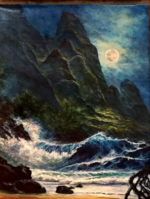 Joseph Porus; Maui Moon, 2017, Original Painting Oil, 24 x 18 inches. Artwork description: 241 Paradise of Maui Inspired by Tobora works.  Great moonlight in cliffs and surf...