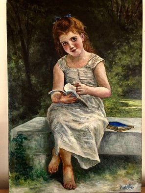 Joseph Porus; Personal Study, 2017, Original Painting Oil, 15 x 22 inches. Artwork description: 241 A beautiful Bourgereau interpretation of a little girl reading on a bench...