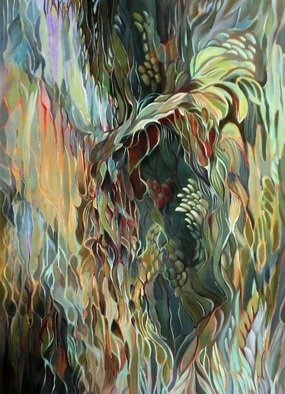 Jan Pozzi; CAVERN, 2014, Original Painting Acrylic, 68 x 54 inches. Artwork description: 241 Colors bleeding trough and coming forward into a canern. On Canvas Colors folding into each other to form an under water cavern. ...