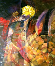 Artist: Jan Pozzi's, title: Gold burst, 2014, Painting Acrylic