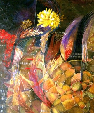 Jan Pozzi; Gold Burst, 2014, Original Painting Acrylic, 38 x 46 inches. Artwork description: 241  Burst of Gold reigning over feathers and colors. On Canvas ...
