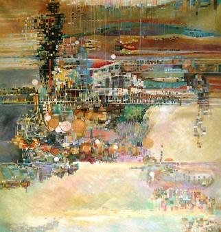 Jan Pozzi; Reflections, 2012, Original Painting Acrylic, 48 x 60 inches. Artwork description: 241  60x60 Acrylic on Canvas. Squares of color formed to make surreal reflections of buildings and water. ...