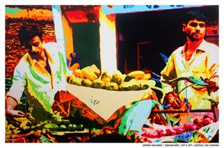 Jayesh Sachdev; Fruit Seller, 2012, Original Painting Acrylic, 72 x 40 inches. Artwork description: 241 My work explores the relationship between the body and urban spaces. Glorifying our experiences with our exterior surroundings into our inner space. As shifting forms become transformed through diligent and personal practice. Exploring and comprehending the relationship between acquired synesthesia and emotional memories; leaving the viewer with ...