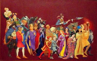 Judith Mitchell; All Humankind Is One Volume, 1998, Original Illustration, 22 x 14.3 inches. Artwork description: 241  Twenty- three well- known characters from world literature, myth, and legend parade before us.  Shakespeare, Alcott, Twain, Hawthorne and more are represented.  This was done for a poster promoting reading, with the message that there are no
