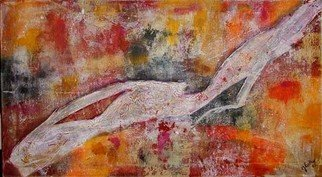 Julia Lutter; Skinning, 2005, Original Mixed Media, 90 x 50 cm. Artwork description: 241  Acrylic, Tempera and Paper on Canvas. ...