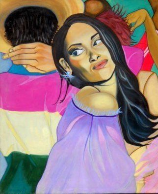 Cecilia Juliana Eres; Tropicombo, 2009, Original Painting Oil, 60 x 100 cm. Artwork description: 241 Scene from a Latin American dance session.  Passionate, colorful and mysterious. ...