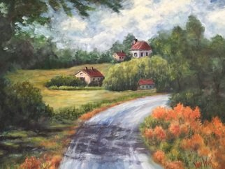 Julie Van Wyk; The Road Home, 2015, Original Painting Acrylic, 18 x 24 inches. Artwork description: 241  From a photo taken while walking home to the farm house where I stayed for a week during a painting workshop in Emmett france ...
