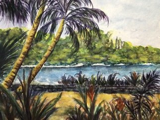 Julie Van Wyk; Hilo Shore, 2017, Original Watercolor, 14 x 11 inches. Artwork description: 241 Beach at Botanical gardens in Hilo...