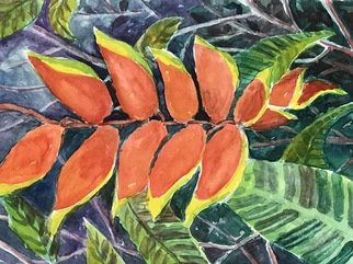 Julie Van Wyk; Lobster Claw, 2017, Original Watercolor, 11 x 14 inches. Artwork description: 241 Botanical gardens in Hilo...