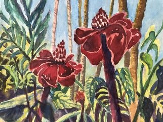 Julie Van Wyk; Red Ginger, 2017, Original Watercolor, 14 x 11 inches. Artwork description: 241 Hawaiin red ginger, Hilo botanical gardens11x14...