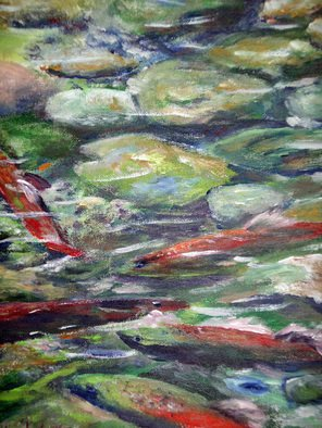 Julie Van Wyk; Salmon Migration On Taylo..., 2011, Original Painting Acrylic, 12 x 16 inches. Artwork description: 241      taylor creek on west side of lake tahoe   painted on masonite     ...