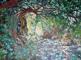 Julie Van Wyk; Sunlit Trail, 2011, Original Painting Oil, 16 x 20 inches. Artwork description: 241     on the trail to the falls on mt diablo   ...