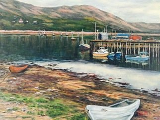 Julie Van Wyk; Ullapool Harbor, 2016, Original Painting Acrylic, 30 x 24 inches. Artwork description: 241 Scotland ...