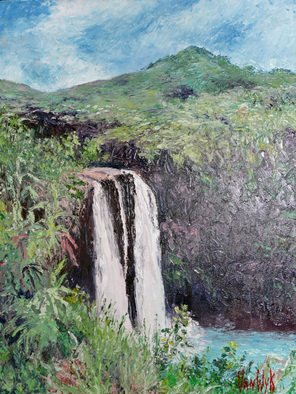 Julie Van Wyk; Wailua Falls, 2011, Original Painting Oil, 16 x 20 inches. Artwork description: 241    wailua falls on the island of kauai    ...