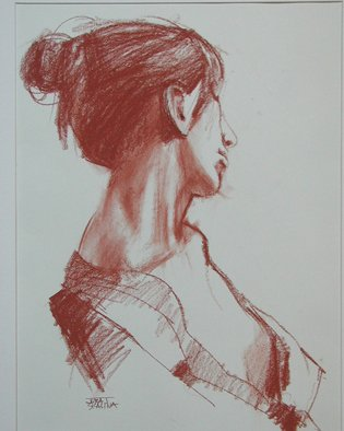 Juraj Skalina; Nude  Profile, 2003, Original Drawing Charcoal, 14 x 18 inches.