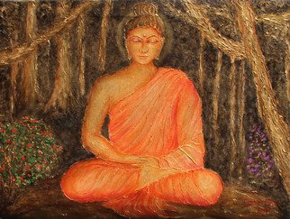 Goutami Mishra; Buddha Under Tree, 2019, Original Painting Acrylic, 24 x 18 inches. Artwork description: 241 This is an embossed textured painting of Gautam Buddha in acrylic colors. In this painting Buddha is meditating under a tree in a deep forest. This painting gives effect of rustic golden color with black and dark background which enhance its beauty. Embossed texture of trees make ...