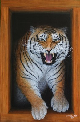 Goutami Mishra; Roaring Tiger, 2019, Original Painting Oil, 24 x 36 inches. Artwork description: 241 This is an oil painting of roaring tiger of size 24 x 36 inches. This is a realistic painting with minute details. It seems a roaring tiger entering from window and just trying to jump inside. The painting looks completely in 3D and its big size makes ...