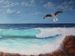 Goutami Mishra; Sea Beach With Flying Bird, 2018, Original Painting Oil, 48 x 36 inches. Artwork description: 241 Sea waves, sea beach, seascape, seagull, bird, bird flying over sea, rock, blue green sea waves, clouds in blue sky, oil painting seascapeThis is an oil painting of sea beach in a sunny day with few clouds in blue sky. Color of sea waves are turning ...