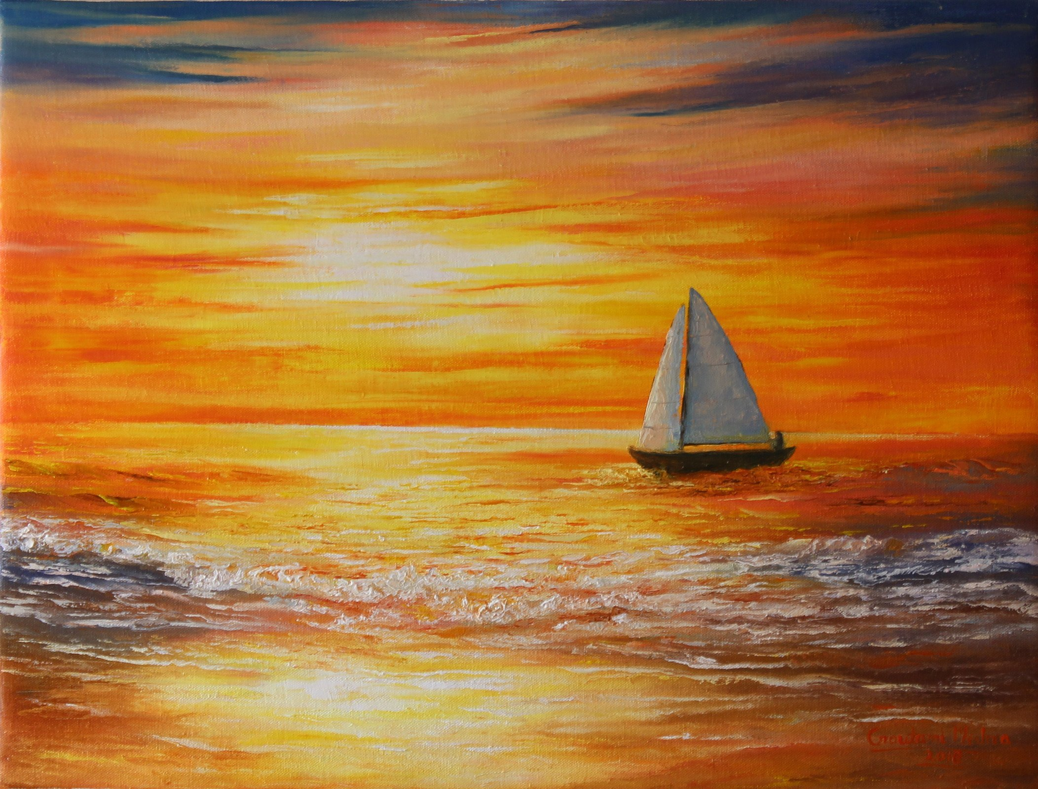 Goutami Mishra; Sunset At Sea, 2018, Original Painting, 24 x 18 inches. Artwork description: 241 This is an original oil painting done by knife only.  Its rich vibrant color and texture gives glossy royal look to your room.  Brightness of sunset and light and shadow effect on sky sea and sailboat adds extra charm in this painting.  Its multiple bright color is ...