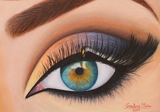 Goutami Mishra; Woman Eye, 2017, Original Painting Oil, 17 x 12 inches. Artwork description: 241 This is an oil painting of an eye of  Eos, Usha - The Goddess of dawn. It seems a beautiful swan is opening her eye and spreading sunshine. The whole galaxy is engulfed in her innocent pupil. This painting resembles with your morning arise too, like serene colorful ...