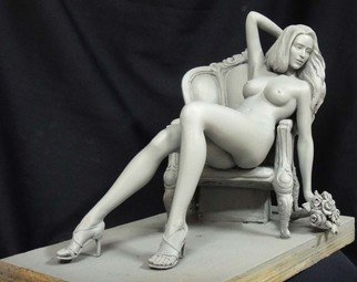 Joy And Willy Danaipitak; Rosemary, 2014, Original Sculpture Bronze, 13.2 x 10.6 inches. Artwork description: 241  Sexy lady on Louis chair Bronze with a White Patination Naked/ Nude Girl recumbent Female statuette statue figurine desk Ornament for sale for Indoors Inside Interior Decoration By Joy and Willy ...