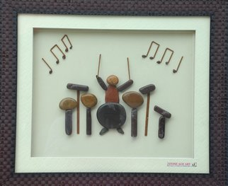Jyothi Chinnapa Reddy; A Musician, 2017, Original Sculpture Sandstone, 20 x 15 inches. Artwork description: 241 it is made with natural pebble stones and a beautiful frame...