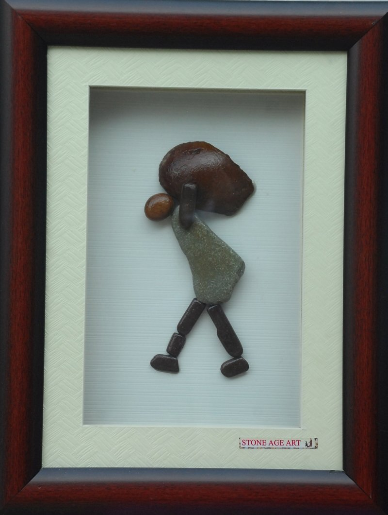 Jyothi Chinnapa Reddy; A Person Carrying Weight, 2017, Original Sculpture Sandstone, 13 x 17 inches. Artwork description: 241 it is made with natural pebble stones and a beautiful frame...