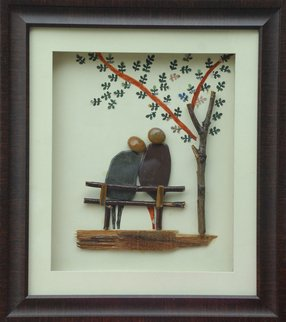 Jyothi Chinnapa Reddy; Couple Sitting Under The Tree, 2017, Original Sculpture Sandstone, 15 x 17 inches. Artwork description: 241 it is made with natural pebble stones and a beautiful frame...