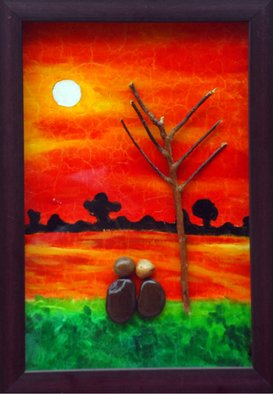 Jyothi Chinnapa Reddy; Couple Watching Sunrises, 2017, Original Sculpture Sandstone, 12 x 17 inches. Artwork description: 241 it is made with natural pebble stones and a beautiful frame...