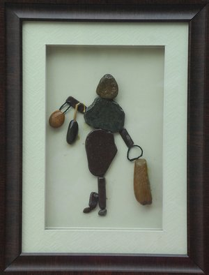Jyothi Chinnapa Reddy; Fashion Girl, 2017, Original Sculpture Sandstone, 13 x 17 inches. Artwork description: 241 it is made with natural pebble stones and a beautiful frame...