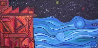 Jyoti Thomas; Two worlds Meet, 2010, Original Painting Acrylic, 100 x 45 cm. Artwork description: 241    part of the Night Sea Journey series            ...