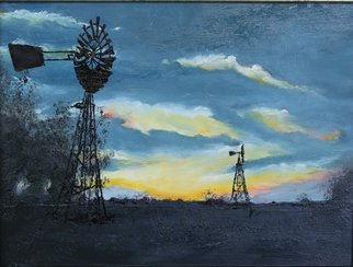 Willem Petrus Kallmeyer; Sunset In The Karoo, 2014, Original Painting Oil, 30 x 40 cm. Artwork description: 241  the vastness of the karoo compels the drilling for water for livestock as power is to expesive to supply. the clean air makes the sunsets so much brighter, something to behold     ...