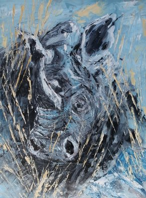 Willem Petrus Kallmeyer; White Rhino, 2014, Original Painting Oil, 30 x 54 cm. Artwork description: 241  the white rhino is faced with extingtion if the poaching continues, di this painting with pellet knife I a abstract realism metod    ...