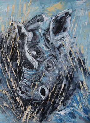 Willem Petrus Kallmeyer; White Rhino, 2014, Original Painting Oil, 30 x 40 cm. Artwork description: 241  the absolute beauty of these animals, which is under threat by poaching compels you to paint them, , this was done with pallet knife in a realistic abstract jeandre      ...