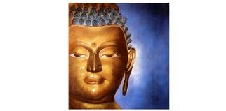 Kumar Nayan;        BUDDHA CODE  P102, 2013, Original Painting Oil, 24 x 24 inches. Artwork description: 241  The Painting Shows Buddha Sitting In Deep Meditation. The Painting Shows the Left half Face of Buddha. In the background is the Aura of Enlightment Light. ...