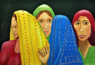 Kamaljeet Chugh; The Fourth Woman, 2012, Original Watercolor, 12 x 18 inches. Artwork description: 241   women gathered, colorful, India,rural, standing, thinking, homely,  contemplating, blouse, head gear, cloth, covered heads, hand, red, blue, yellow, green, festival, different looks,    ...