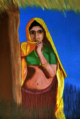 Kamaljeet Chugh; Woman At Home, 2012, Original Watercolor, 12 x 18 inches. Artwork description: 241  woman waiting, hut, wall, colorful, India,rural, standing, thinking, homely, thatch roof, blue background, contemplating, belly, naval, blouse, skirt, yellow cloth, covered head,  ...