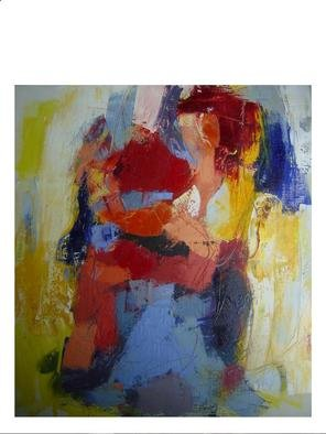 Hans-Ruedi Kammermann, 'Carrying Her Big Heart', 2004, original Painting Oil, 90 x 100  x 3 cm. Artwork description: 1758 open heart to the world and its adventures...