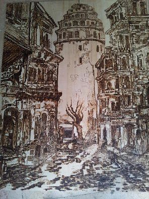 Kamuran Ozdemir; GALATA TOWERS PYROGRAVUR, 2014, Original Painting Other,   m. Artwork description: 241        sale cash with western union ctc 00905436451702      ...