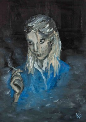 Kao Kabre; Daemon Smoking, 2015, Original Painting Oil, 20 x 30 cm. Artwork description: 241 oil - canvas on cardboardFast improvisation about one girl. ...