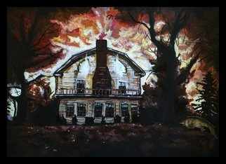 Charlie Laquidara; Amityville, 2014, Original Painting Acrylic, 9 x 12 inches. Artwork description: 241  Based off the Horror Location, Amityville is an Acrylic on Black Paper ...