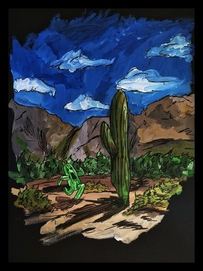 Charlie Laquidara; Double Agent, 2014, Original Painting Acrylic, 9 x 12 inches. Artwork description: 241   Original Acrylic on Black Paper Final Fantasy Cactuar Fanart     ...