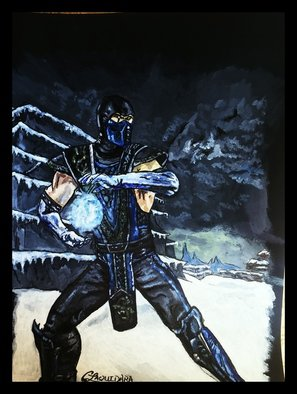 Charlie Laquidara; Finish Him, 2014, Original Painting Acrylic, 9 x 12 inches. Artwork description: 241    Original Acrylic on Black Paper Mortal Kombat Sub Zero Fanart      ...